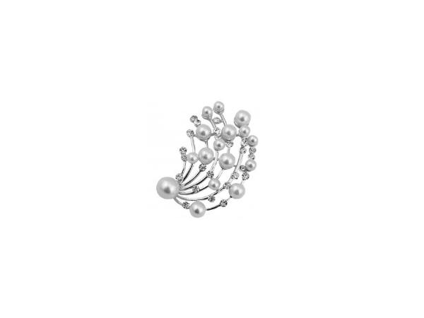 Br28 Crystal & pearl brooch