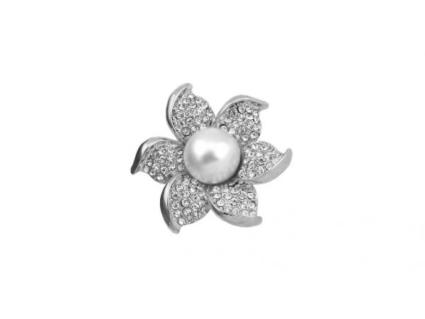 Br30s Crystal & pearl brooch