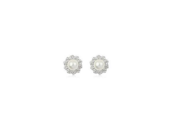 E124 Pearl & crystal stud