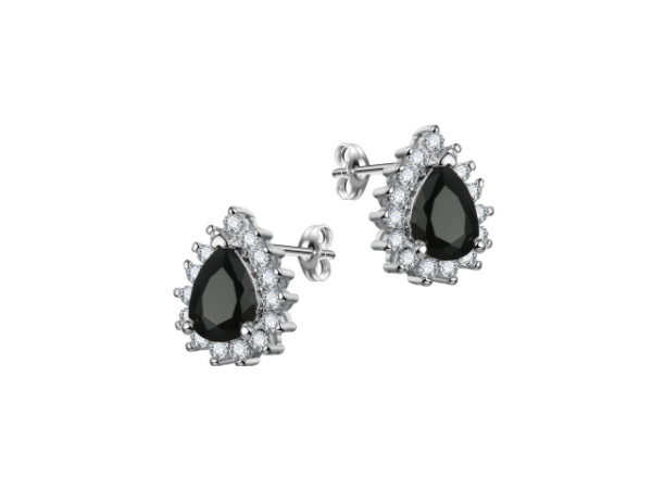 E439bk  Small Crystal Teardrop Earring