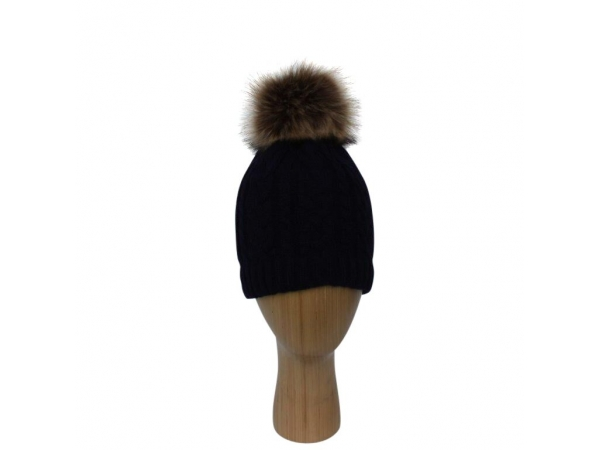 H-003 Navy Cable Stitch Faux Pom-Pom Hat