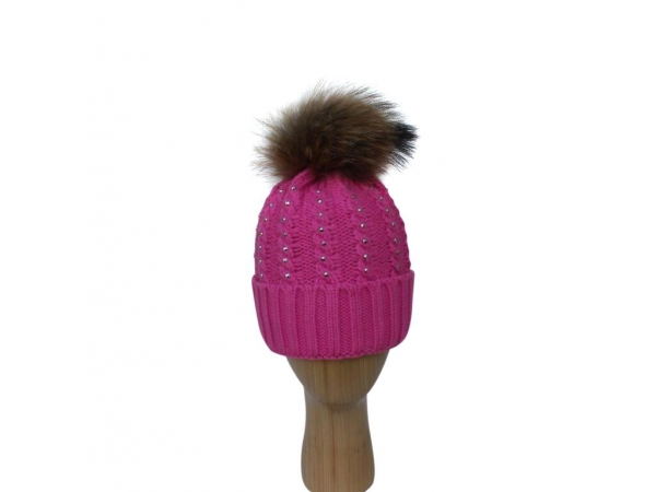 H-007 Fushia Winter Hat With Large Detachable Real Fur Pom-Pom