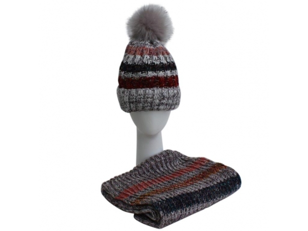 Grey Hat & Scarf Set