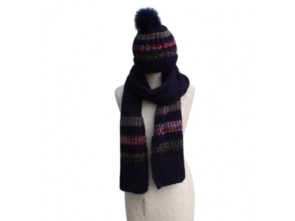 Navy Hat & Scarf Set