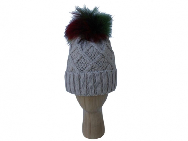 H009 Beige Knitted Hat With Real Fur Multi Colour Pom-Pom