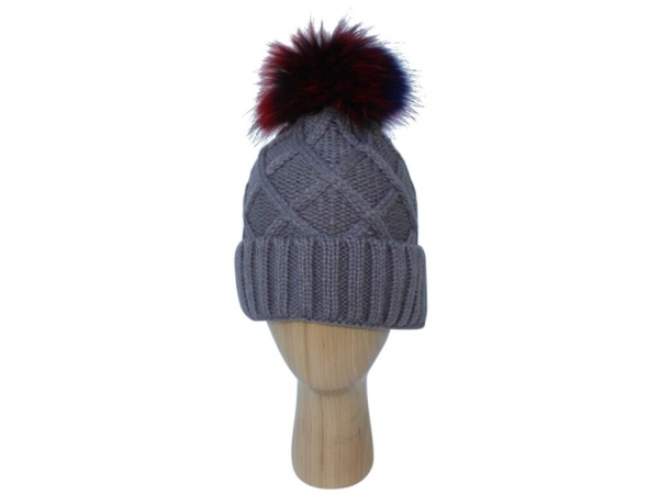 H009 Grey Knitted Hat with Real Fur Multi Colour Pom-Pom