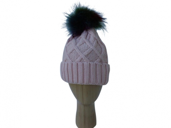 H009 Pink Knitted Hat With Multi Colour Real Fur Pom-Pom