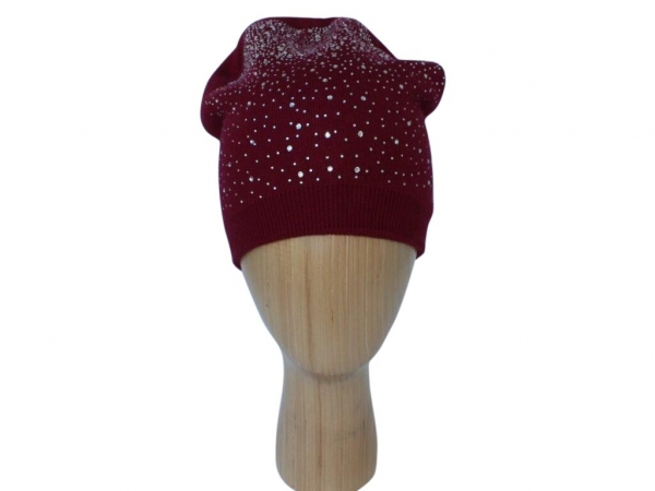 H015 Wine Crystal beanie double layered hat.