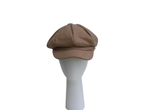 Beige Baker Boy Hat.