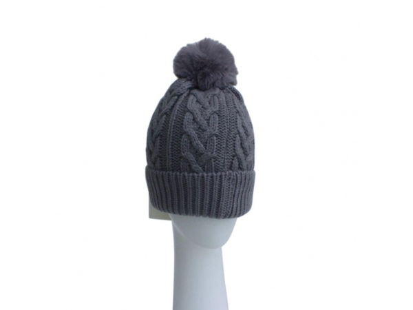 Grey Cable Knit Hat with Faux Fur Pom Pom