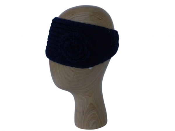 HB002 Navy wool headband with rose detail