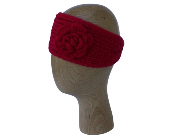 HB002 Red wool headband with rose detail
