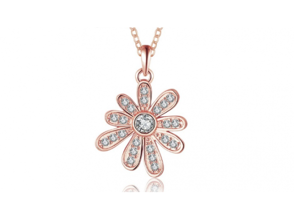 N440 Rose gold flower necklace