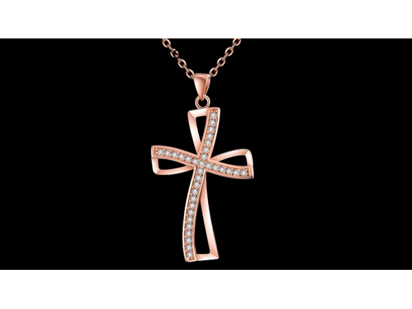 N461 Rose gold cross