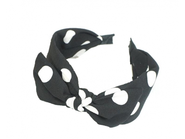 Polka Dot Hair Band Blk/wht.