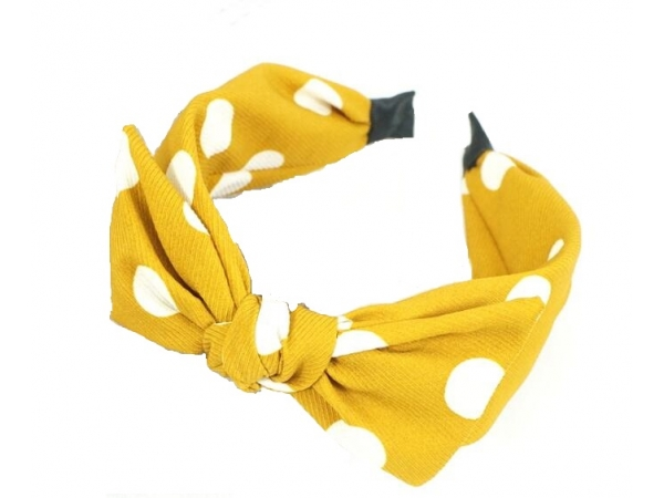 Polka Dot Hair Band Mustard