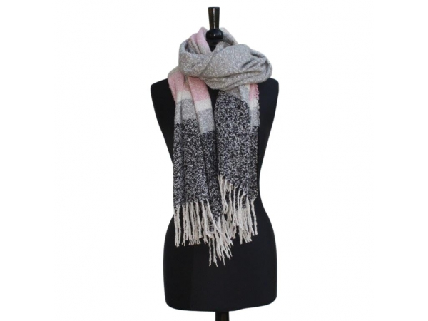 Ws303 Grey Winter Scarf wool/Viscose mix