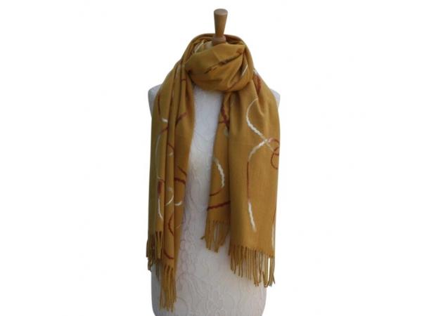 Ws008 Mustard Wool/Viscose Patterned Scarf