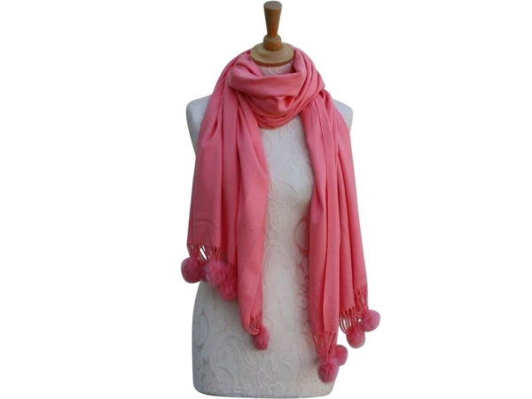 Ws001 Coral Cashmere Blend Pashmina With Small Pom Pom