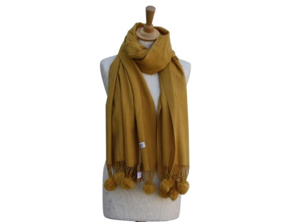 Ws001 Mustard Cashmere Blend Pashmina With Small Pom Pom