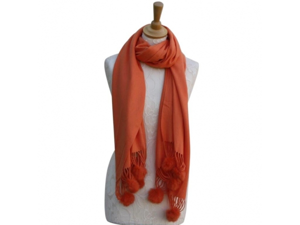 Ws001 Orange Cashmere Blend Pashmina With Small Pom Pom