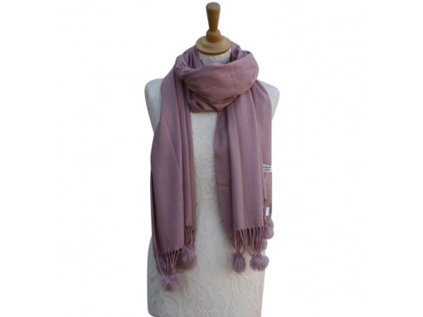 Ws001 Pink Cashmere Blend Pashmina With Small Pom Pom