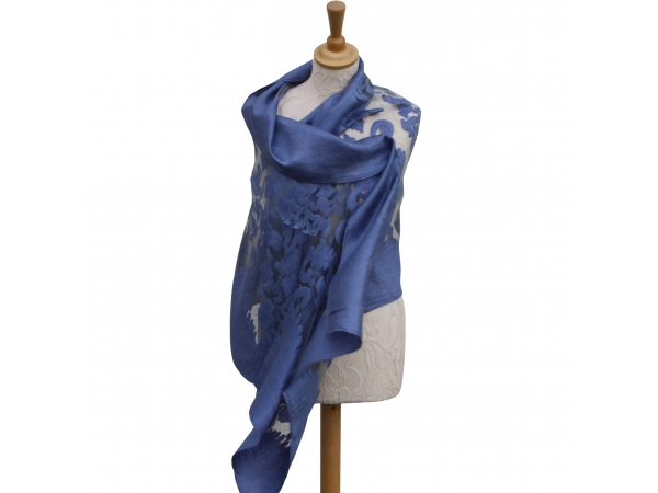 Viscose,cotton & silk wrap Blue