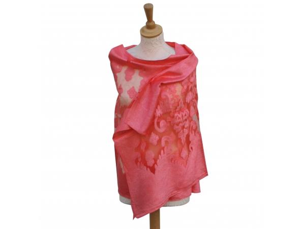 Viscose,cotton & silk wrap Coral