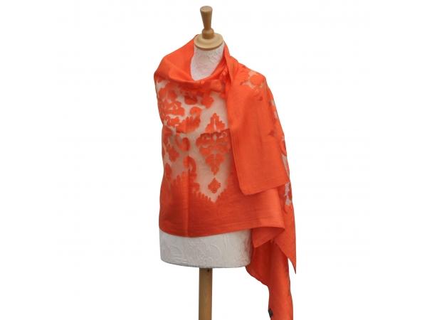 Viscose,cotton & silk wrap Orange