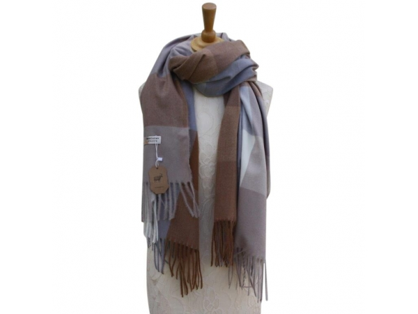 Ws006 Cream Cashmere Blend Pashmina With Check Pattern