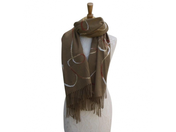 Ws008 Khaki Wool/Viscose Patterned Scarf