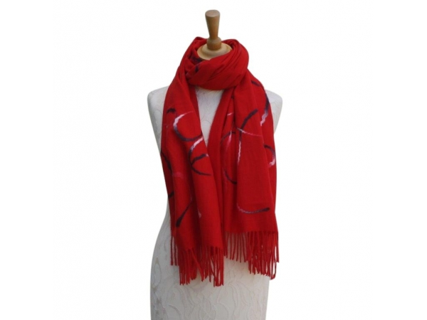 Ws008 Red Wool/Viscose Patterned Scarf