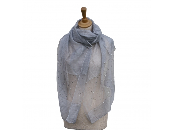 Ws009 Silver Scarf With Pearl Detail