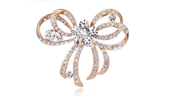 Br59 Gold crystal brooch