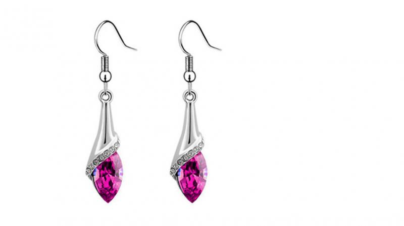 E219pk Crystal drop earring