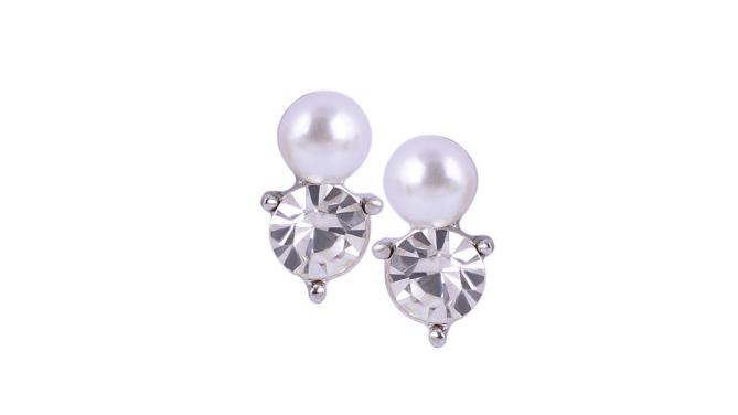 E238 Small pearl & crystal stud