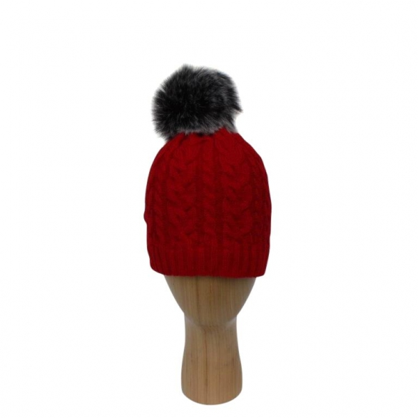 H-003 Red Cable Stitch Faux Pom-Pom Hat