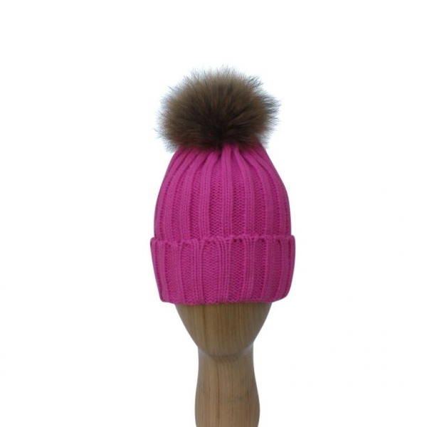 H-006 Fushia Winter Hat With Detachable Fur Pom-Pom
