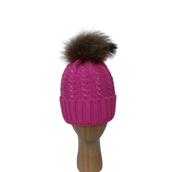H-007 Fushia Winter Hat With Large Detachable Real Fur Pom-Pom