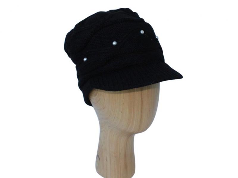 H016 Black peak hat with pearl detail.