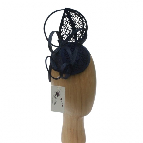 Lacey Navy Fascinator.