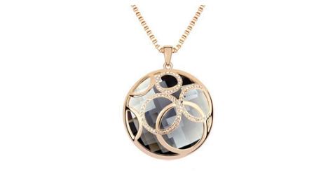 N304 Long black crystal pendant