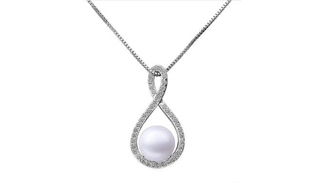 N412 Silver Pearl Necklace
