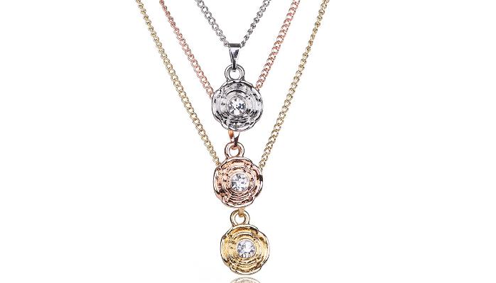 N433 Tri metal necklace