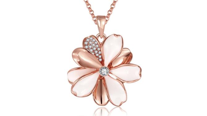N463 Rose gold flower pendant
