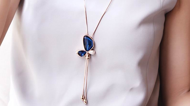 N469bL Long crystal butterfly necklace