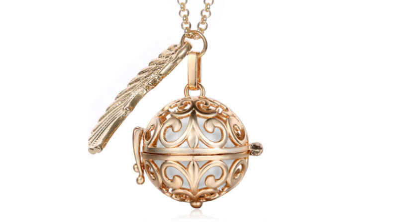Bola  necklace Rose gold/white