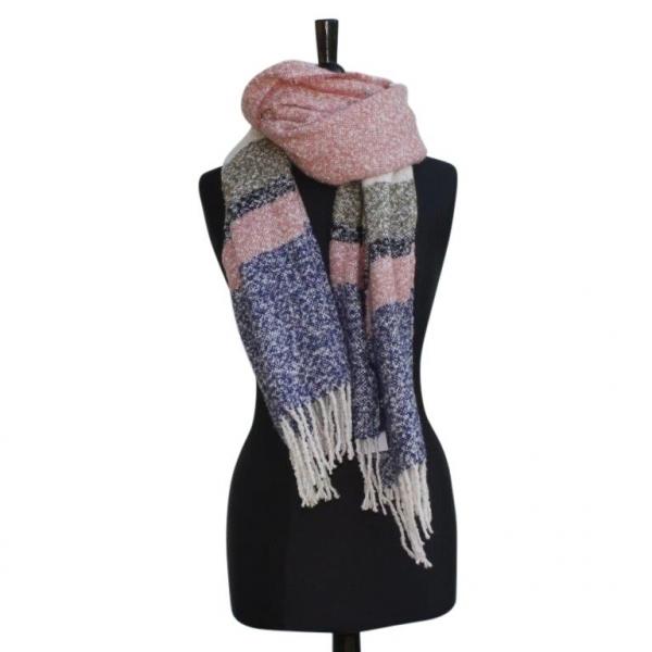 Ws303 Pink Winter Scarf wool/Viscose mix