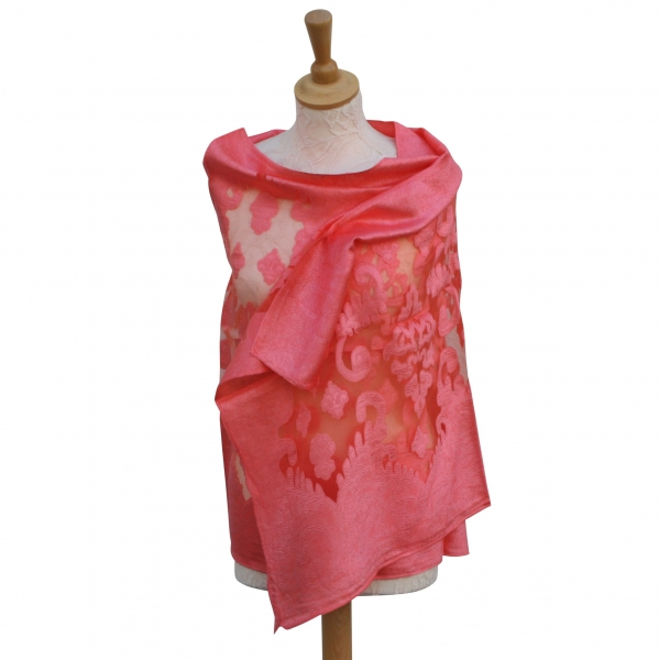 Viscose,cotton & silk wrap Coral
