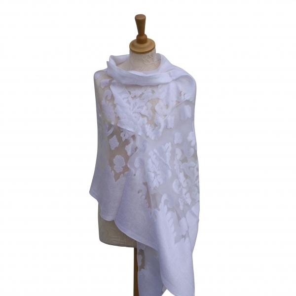 Viscose,cotton & silk wrap White